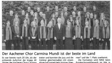 2005-11-29_Aachener Zeitung_Carmina Landessieger Chor NRW