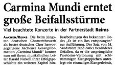 2007-01-03_Aachener Zeitung_Tour nach Reims Carmina