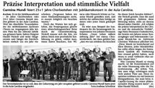 2009-09-30_Aachener Zeitung_Jubilaeumskonzert Carmina