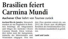 2010-11-10_Aachener Zeitung_Tour Brasilien Carmina