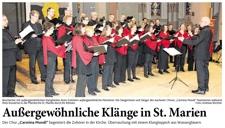 01.03.2016 Bericht der Aachener Nachrichten über das Carmina Mundi Konzert in der Marienkirche Eschweiler